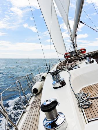 yacht tacking in Adriatic sea, Dalmatia, Croatia photo