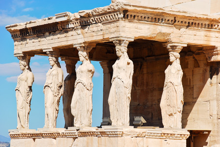 caryatids: statues of Porch of the karyatides on Acropolis hill, Athens, Greece Stock Photo