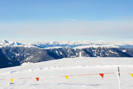gardena: skiing area on snow mountain in Val Gardena, Dolomites, Italy Stock Photo