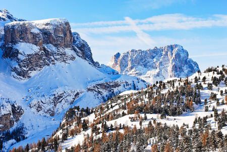 landscape with Dolomites mountain in Val Gardena, Italy photo