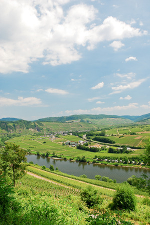mosel: view of Moselle valley and Mosel river in summer day, Germany Stock Photo