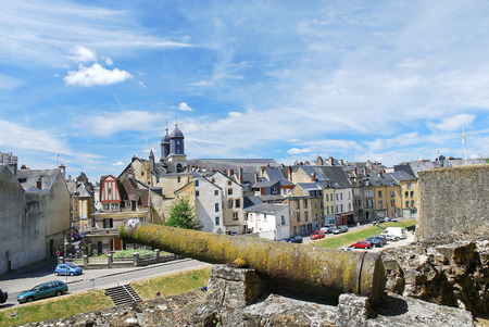 rampart: view of town Sedan from castle rampart, France in summer day