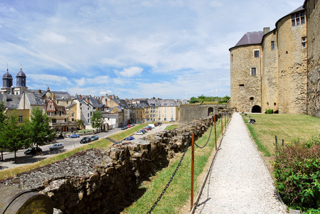 rampart: castle rampart and town Sedan, France in summer day