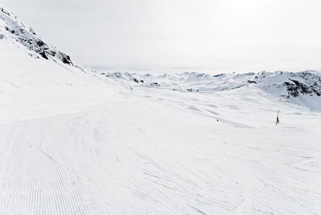 ski runs: ski runs on snow slopes of mountains in Paradiski region, Val dIsere - Tignes , France