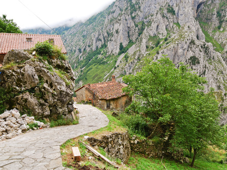 picos: village in mountain national park Picos de Europa, Asturias, Spain
