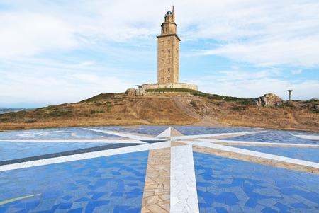 ancient roman monument - lighthouse Tower of Hercules, La Coruna, Galicia, Spain photo