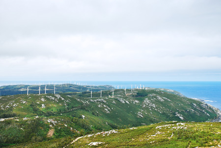 wind power farm on Cape Vilan, Costa da Morte, Galicia, Spain photo