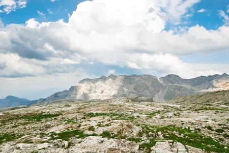 gardena: stone valley in Dolomites mountains in Val Gardena area in summer, Italy Stock Photo