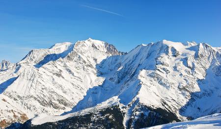 soleil: MontBlanc mountain in Alps in Portes du Soleil region, Evasion - Mont Blanc, France