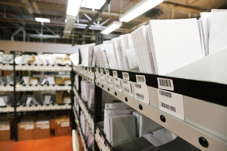 stockroom: documents archives in storage warehouse Editorial