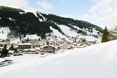 les: view of in mountain skiing resort town Les Gets in Portes du Soleil region, France