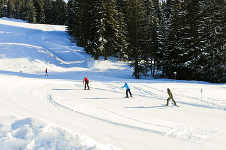 gets: skiing tracks on snow mountains in Portes du Soleil region, Les Gets, France Stock Photo