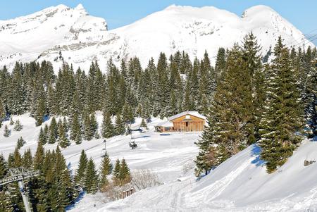 soleil: mountain skiing area in Portes du Soleil region, Morzine - Avoriaz, France Stock Photo