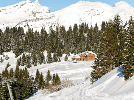 soleil: view of skiing area in Portes du Soleil region, Morzine - Avoriaz, France