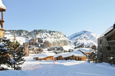 soleil: cityscape of Avoriaz town in Alps, Portes du Soleil region, France