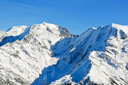 soleil: view of MontBlanc mountain in Alps in Portes du Soleil region, Evasion - Mont Blanc, France