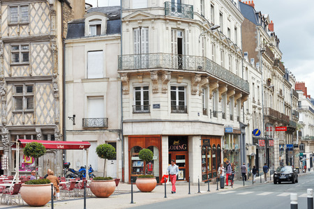 monument valley view: ANGERS, FRANCE - JULY 28, 2014: Rue St Aubin street in Angers, France. Angers is city in western France and it is the historical capital of the province of Anjou Editorial
