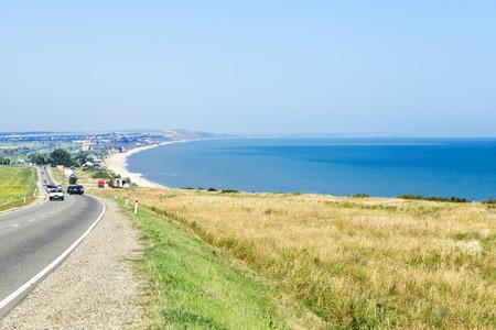 kuban: GOLUBITSKAYA, RUSSIA - JULY 1, 2014: view of resort village Golubitskaya on Taman Peninsula in Sea of Azov. Settlement Golubitskaya was founded in 1879, the name was in honor of Cossack Golubitskiy Editorial