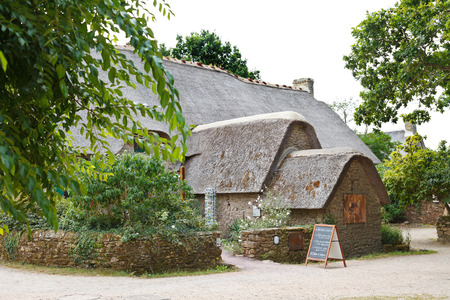 parc naturel: KERHINET,BRIERE, FRANCE - JULY 27, 2014: old bygone typical wooden house in Briere Regional Natural Park, France. The park includes the largest wetland area in France, it covers around 100,000 acres
