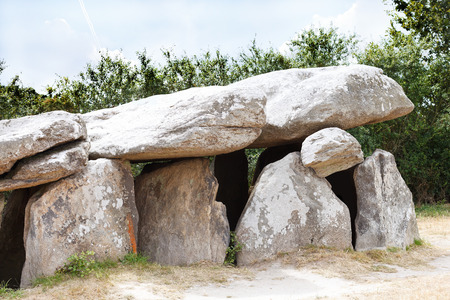 bygone days: ancient stone dolmen in Briere Regional Natural Park, France