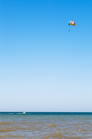 kiting: Parasailing on Sea of Azov, Taman Peninsula, Russia Stock Photo