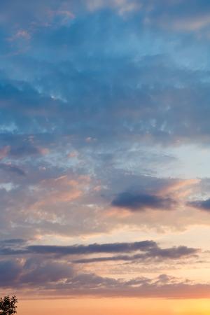 kuban: last yellow sun light in blue sky at summer sunset
