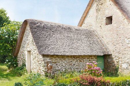 bygone days: old breton country house in village de Breca, in Briere Regional Natural Park, France Stock Photo