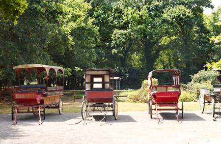 parc naturel: old carriages in village in Briere Regional Natural Park, France