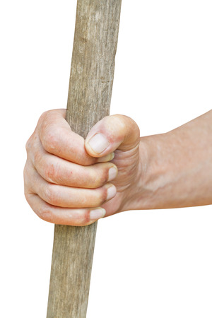 a cudgel: peasant hand holds old wooden cudgel isolated on white background Stock Photo