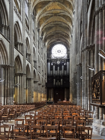 ROUEN, FRANCE - AUGUST 6, 2014: nave of Rouen Cathedral. Rouen Cathedral is Roman Catholic Gothic cathedral in Rouen, it is the seat of the Archbishop of Rouen and Normandy
