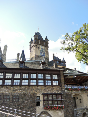 mention: COCHEM, GERMANY - AUGUST 12, 2014: view of Cochem Imperial castle (Reichsburg Cochem) in Germany. The Reichsburg Cochem had its first documentary mention in 1130.