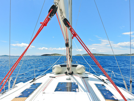 voyage on yacht in blue Adriatic sea, Dalmatia, Croatia photo