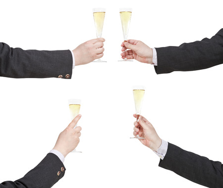 proposing a toast: set of hand with raising of champagne glass isolated on white background Stock Photo