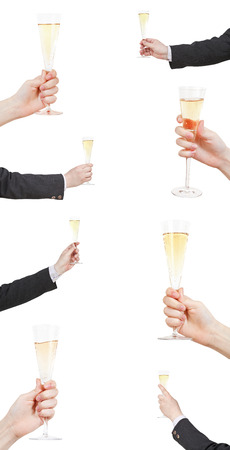 set of raising of champagne glass in hand isolated on white background photo