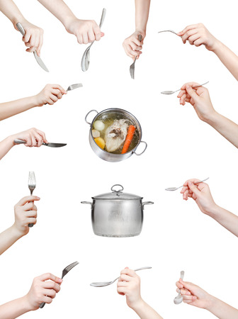 set of hand with kitchen utensil isolated on white background photo