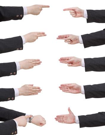 set of scoring businessman hand - gesture isolated on white background photo