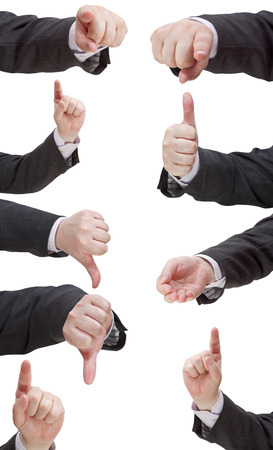 pointed arm: set of businessman finger sign - hand gesture isolated on white background Stock Photo