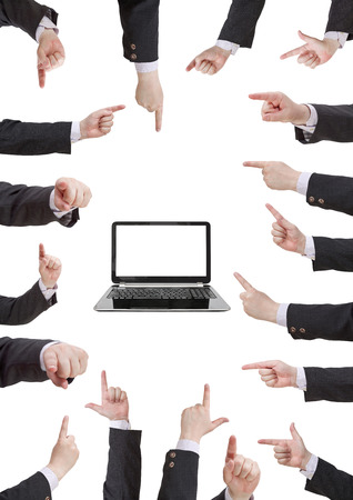 set of businessman hand gesture with forefinger isolated on white background photo