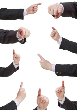 pointed arm: set of businessman pressing forefinger - hand gesture isolated on white background Stock Photo