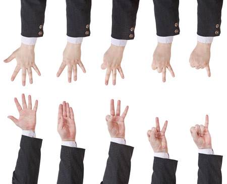 set of counting businessman hand gesture isolated on white background photo