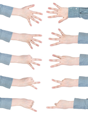 set of counting female hands - gesture isolated on white background photo