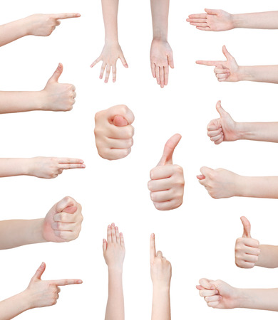 pointed arm: set of various female hand gesture isolated on white background