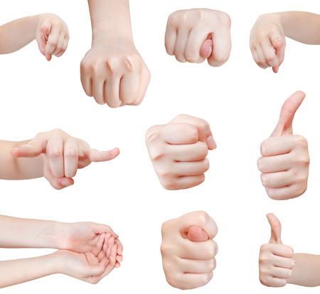 pointed arm: set of front view of hand gesture isolated on white background