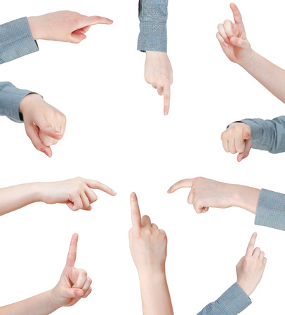 pointed arm: set of female pressing forefinger - hand gesture isolated on white background Stock Photo