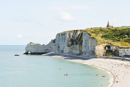 resort beach: etretat resort beach on english channel of cote d