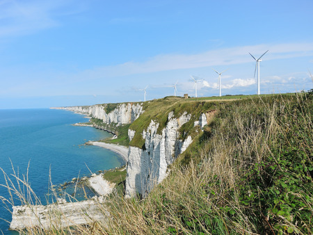 wind farm on english channel coast in Normandy of etretat cote d photo