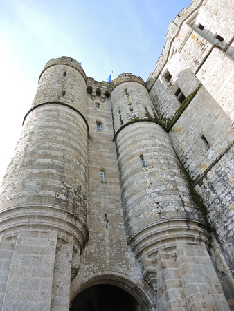 mount saint michael: towers of abbey mont saint-michel in Normandy, France Stock Photo