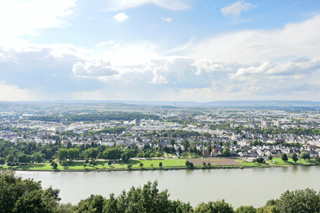 mosel: waterfront of Koblenz town at the confluence of Moselle and Rhine rivers, Germany