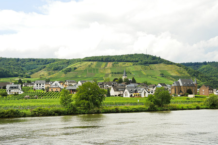 an agricultural district: Ellenz Poltersdorf village on Moselle riverside, Germany Stock Photo