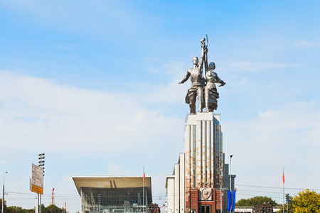 MOSCOW, RUSSIA - SEPTEMBER 13, 2014: Rabochiy i Kolkhoznitsa (Worker and Kolkhoz Woman) monument in Moscow. The sculpture was made from steel by Vera Mukhina for the 1937 Worlds Fair in Paris